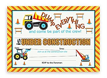 Amazoncom Construction Party Invitations 10 Invitations 10