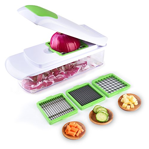 Cool-Shop Vegetable Chopper Slicer Dicer - Onion Chopper - Effortless No-Mess Salad Vegetable Cutter, 3 Interchangeable Blades Set with Food Container, Cleaning Brush for Veggie (Cool Food)