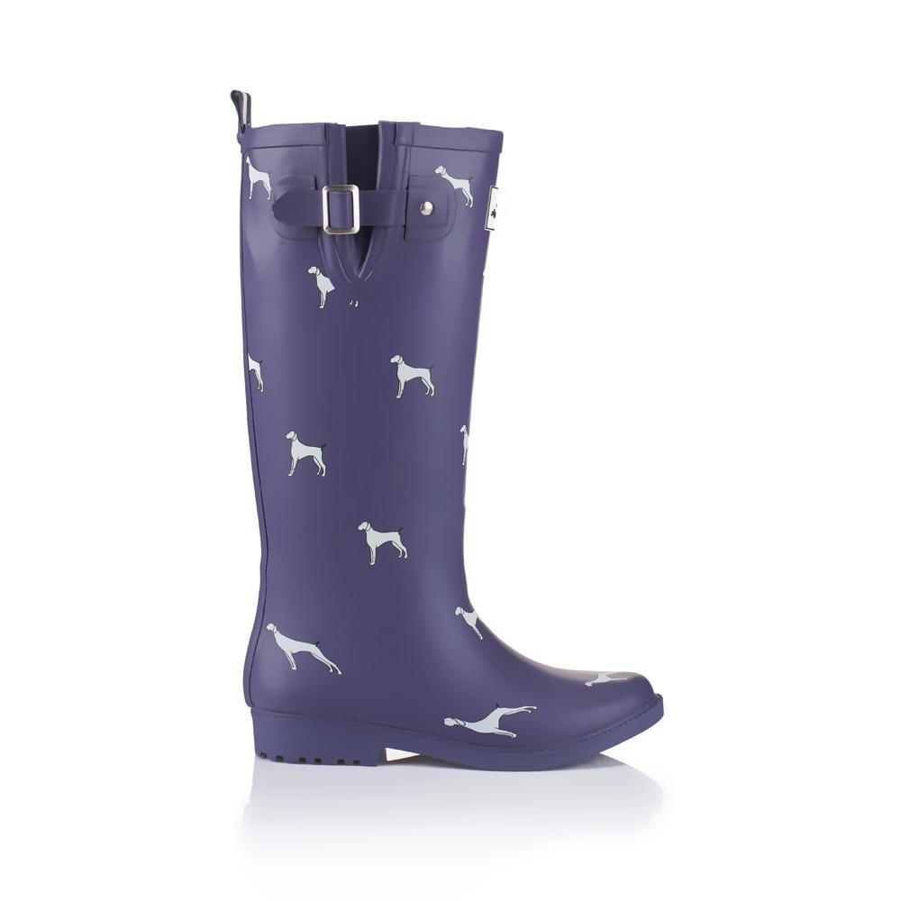 Donne Moda Gambaletto In gomma Stivali da pioggia Impermeabile Overknee Scarpe da acqua , purple , 38purple
