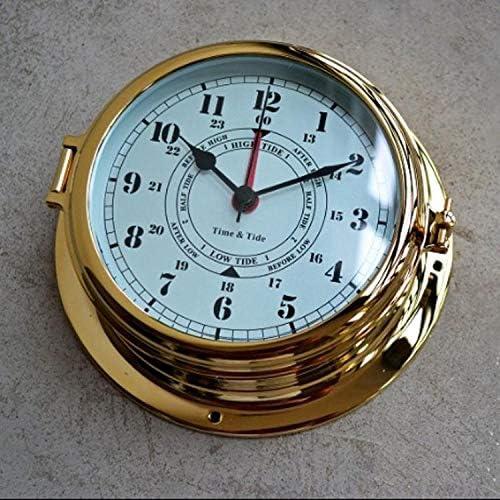 FAWEG Reloj de Pared Caja de latón náutico Navegación Ojo de Buey Relojes de Marea Artículos de Vela