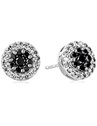 10K White Gold Black and White Diamond Stud Earrings (1/2 cttw)