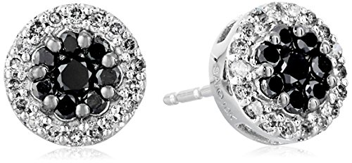 10K White Gold Black and White Diamond Stud Earrings (1/2 cttw, I-J Color, I2-I3 Clarity)