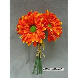 Package of 3- Tangerine Orange Petite Silk African Daisy Bouquets, 18 Total Blooms for Weddings, Centerpieces and More 116