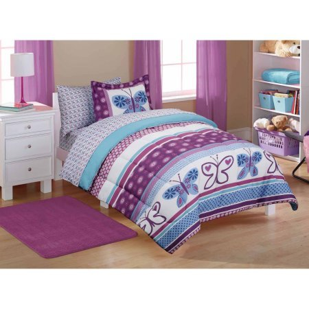Mainstays Kids' Purple Butterfly Coordinated Bed in a Bag Includes Comforter, Pillow Sham(s), Flat Sheet, Fitted Sheet, Pillow case(s), FULL