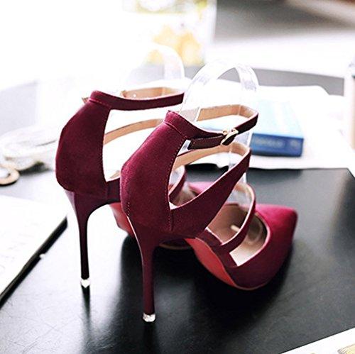 Sandales pour Femmes Chaussures Talons Hauts Aiguilles Pointu Sangle Bride Cheville Sandale Bordeaux 35 Z9a4ItDDW