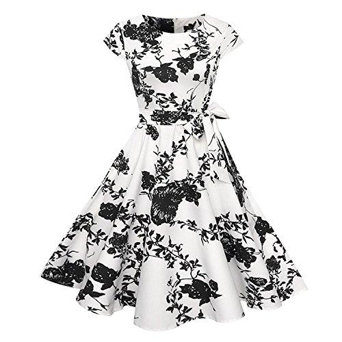 Women Short Sleeve O-Neck Floral Dresses 50s 60s Rockabilly Plus Size Vestidos ()
