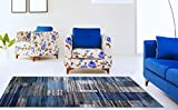 Adgo Atlantic Collection Modern Abstract Geometric Rectangular Carpet Thick Plush Stain Fade Resistant Easy Clean Bedroom Living Room Floor Rug, Blue Navy Grey, 3'3″ x 4'7″ Review