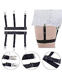 Men's Shirt stays Locking Clamps Elastic Suspenders Non-slip Locking Clamps … (black metal)