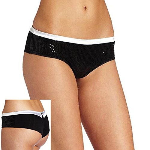 Jezebel Satin Garter (Jezebel Women's Shimmer Low Rise Boyleg Panty, Black Ice, Small)