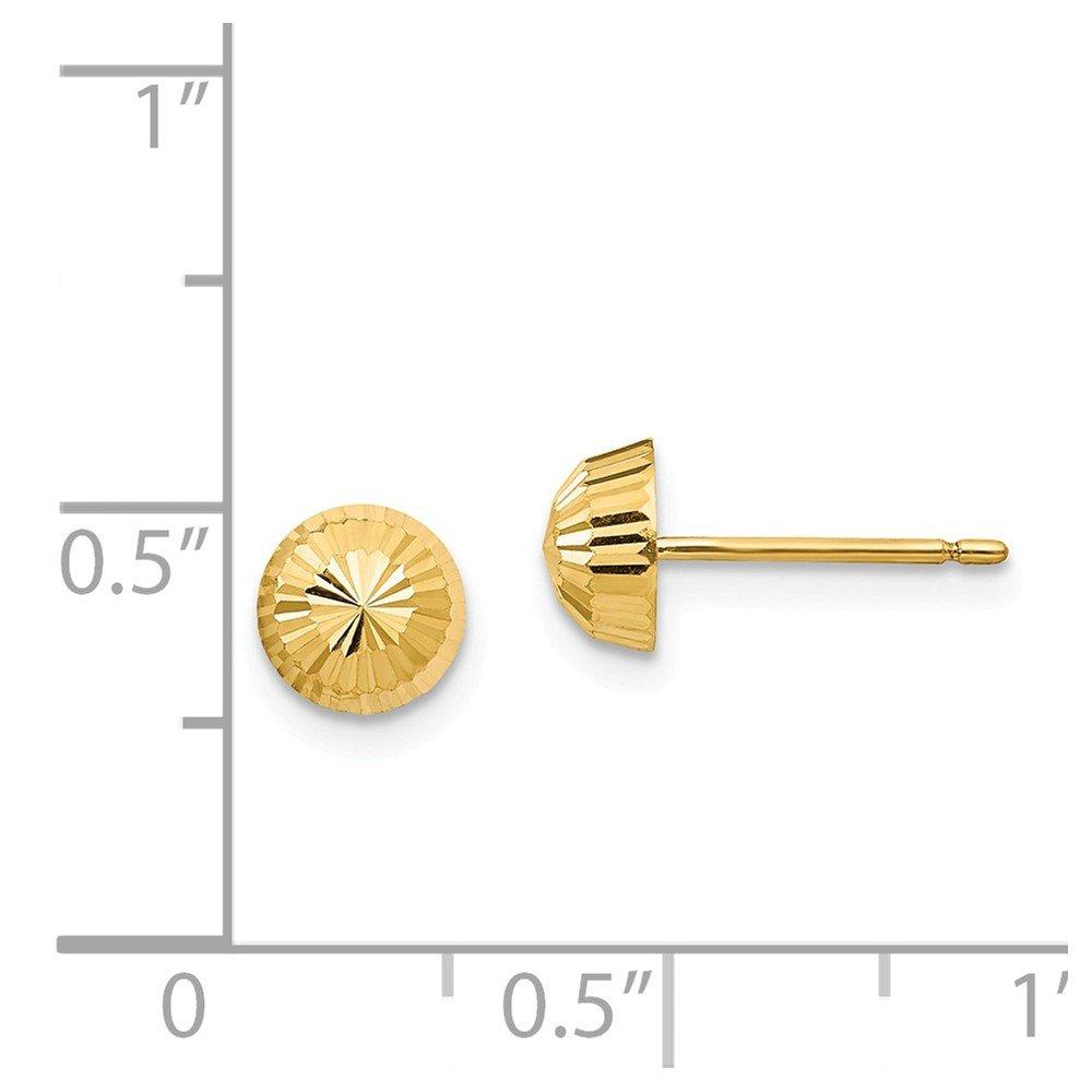 Solid 14k Yellow Gold Polished /& Diamond-Cut Swirl 5mm Button Post Earrings