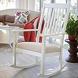 Wood Rocking Chair For Baby Nursery Padded Rocker Upholstered Cushion - Vanilla