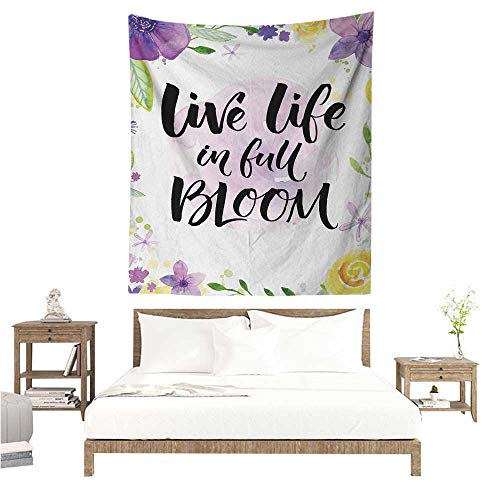 WilliamsDecor Polyester Tapestry Lifestyle Live Life in Full of Blooms Motivational Quote with Floral Violets Print 54W x 84L INCH Suitable for Bedroom Living Room Dormitory