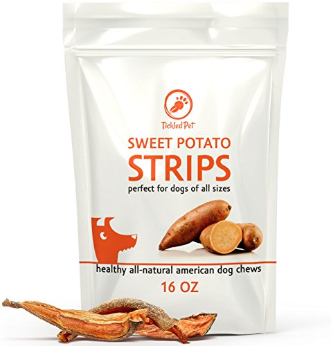 TickledPet Sweet Potato Strips - Best Natural Rawhide Alternative Dog Treat - USA Made Dog Chews by TickledPet (Sweet Potato , 16 oz.) (Natural Rawhide Strips)