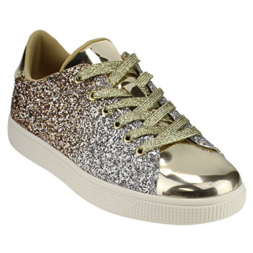 Women Fashion Light Weight Glitter Metallic Leatherette Quilted Lace Up Shoe Lace Up Low Top Stylish Sneaker (7, Gold Glitter-1)