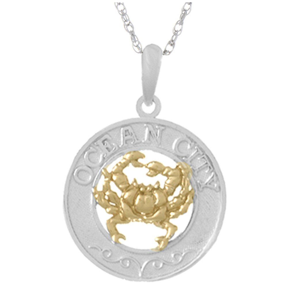 925 Sterling Silver Travel Charm Pendant with 18 Inch Chain, Ocean City, On Round, 14k Gold Crab Center by Million Charms