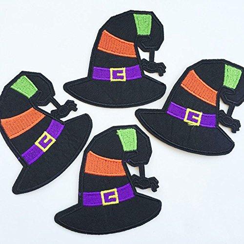 Set of 10pcs Halloween Green Purple Witch Hat