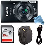 Canon PowerShot ELPH 190 Digital Camera COMPLETE BUNDLE w/10x Optical Zoom and Image Stabilization Wi-Fi & NFC Enabled + ELPH 190 Case + SD Card + USB Cable (Black, 16GB)