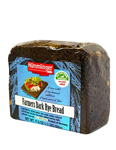 Farmers Dark Rye Bread Yeast Free Hummlinger, No Yeast Added 17.6 oz. (6 programs)