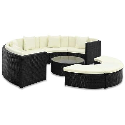 tidyard Conjunto Semicircular Muebles de Jardín de Ratán 25 ...