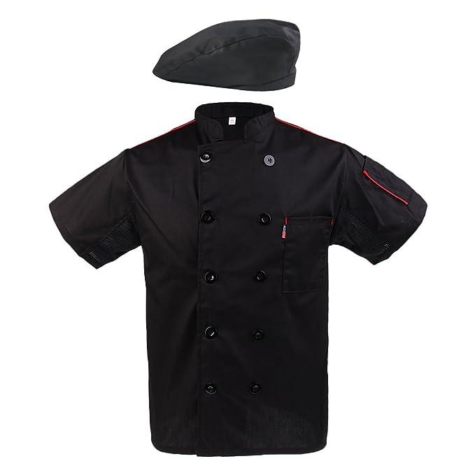 Homyl Sombrero con Chaleco de Chef Cocinero Manga Corta ...
