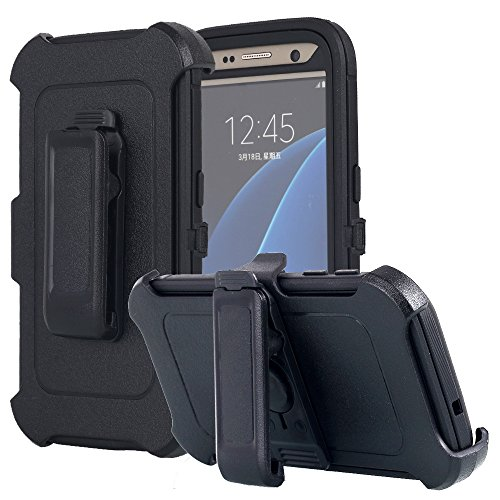Galaxy S7 Case, AICase Heavy Duty Holster Case Belt Clip + Armor Protective Kickstand Cover with Built-in Screen Protector for Samsung Galaxy S7 (2016) (Black)