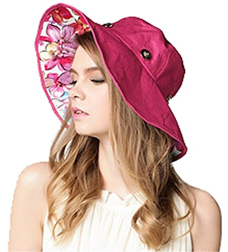 Eleter Women's Large Wide Brim Floppy Beach Sun Visor Shade UPF 50+ Hat Cap (FBA) (Rose Red)