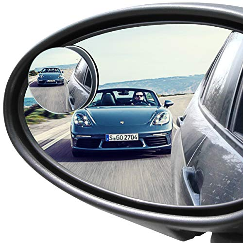 ror, Rearview Convex Side Mirrors for Cars SUV Truck Van Stick on 3M Adhesive, Rear View HD Glass Frameless Sway Rotate adjustable Wide Angle, 2 inch round 2pcs ()