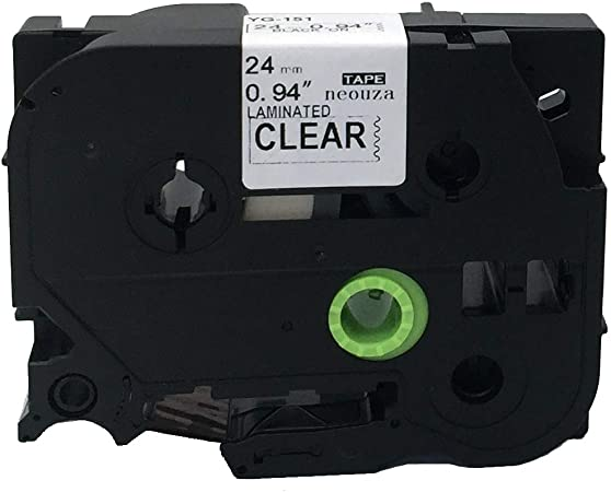 5PK TZ151 Tze151 Black on Clear Label Tape for Brother P-Touch PT-9800PCN 24mm