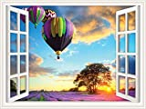 Walls 360 Peel & Stick Wall Decals: Window Views Hot Air Balloons (60 in x 45 in)
