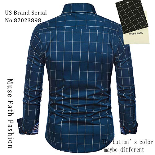 MUSE FATH Mens Long Sleeve Plaid Classic Shirt-Casual Cotton Shirt
