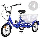 "Slsy 14 inch Tricycle, 14"" Trike Bike Perfect for Beginner Riders, Single Speed 14 inch 3 Wheel Bikes, Three-Wheeled Bicycles with Adjustable Height"