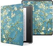 Capa Kindle Oasis, WB, Leve Sensor Magnético, Couro, Flores, Kindle Oasis 10ª e 9ª