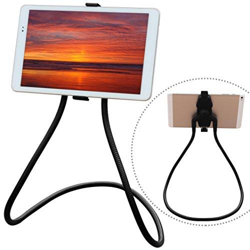 Around Neck Holder for Tablet & Cell Phone (4.5 to 10〞): Honsky Universal, 360°Rotating, Flexible, DIY Lazy Mount, Gooseneck Stand, Long Arm Bracket, for Desktop, Bed, Kitchen Cooking, Black by Honsky