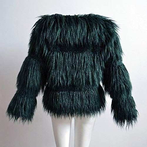 Mujer Cuello Redondo Termica Unicolor Invierno Grande Abrigos Chaqueta Sintética Talla Dunkelgrün Manga De Larga Espesar Piel qwanU5A