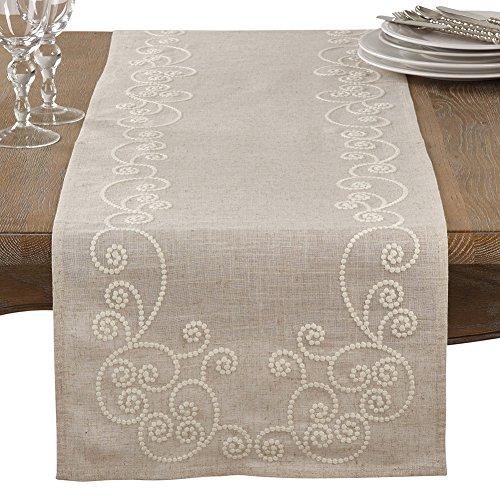 Fennco Styles Embroidered Swirl Design Natural Linen Blend Table Runner (16