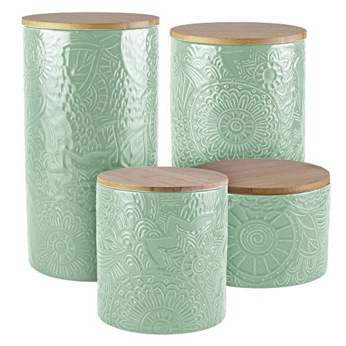 - American Atelier Embossed Canister 4-Piece Ceramic Set Jar Container with Wooden Lids for Cookies, Candy, Coffee, Flour, Sugar, Rice, Pasta, Cereal & More Sage
