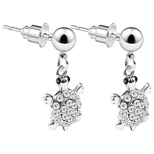 (2PCS Surgical Steel Dangle Stud studded simple Turtle Clear Crystal Tragus Lobe Earrings Cartilage Piercing Jewelry 3674 )