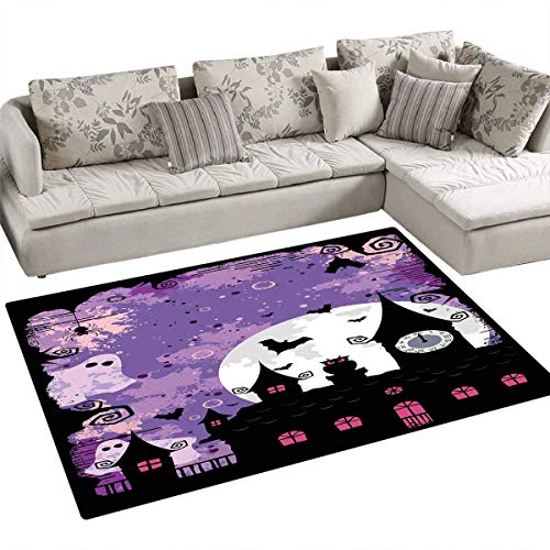 Vintage Halloween Door Mats for Inside Halloween Midnight Image with Bleak Background Ghosts Towers and Bats Bath Mat for Bathroom Mat 4'x6' Purple Black]()