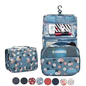 Itraveller Portable Hanging Toiletry Bag/ Portable Travel Organizer Cosmetic Bag for Women Makeup or Men Shaving Kit with Hanging Hook for vacation (Blue Flower)