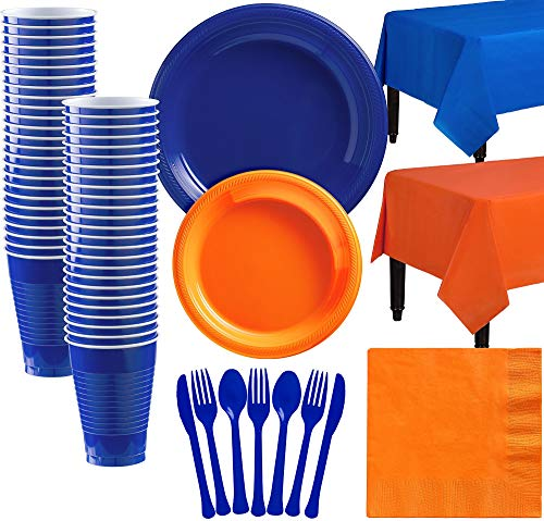 Party City Royal Blue and Orange Plastic Tableware Kit for 50 Guests, 487 Pieces, Includes Plates, Napkins, and Utensils