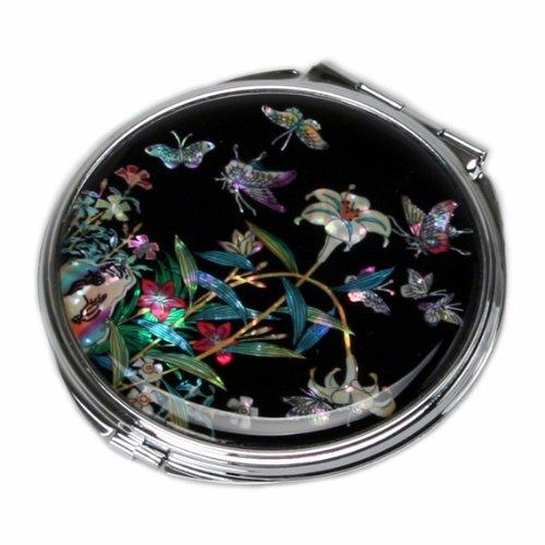 Specchio Compatto Nero Rotondo in Madreperla Specchio Da Borsa o Borsetta Per Truccarsi Per Trucchi o Cosmetici Con Motivo Mughetti Antique Alive