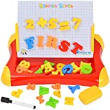 7TECH 2 in 1 Magnetic Drawing and Writing Board with Letters Number Sketchpad Learning Case for Kids Early Education Red
