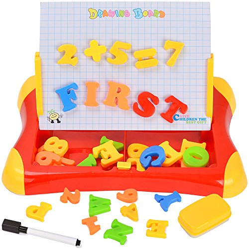 7TECH 2 in 1 Magnetic Drawing and Writing Board with Letters Number Sketchpad Learning Case for Kids Early Education Red (1 Board)