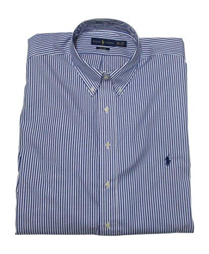 (RALPH LAUREN Men's Dress Shirt Big and Tall Long Sleeve Poplin Stretch Cotton (XLT, Blue/White Stripe))