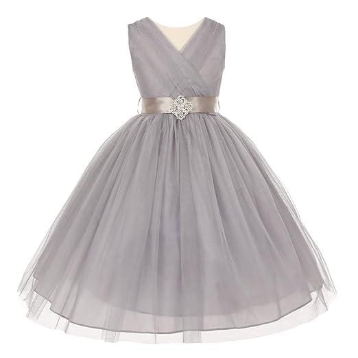 Amazon Com Big Girls Silver Pleated Rhinestone Brooch Tulle Junior