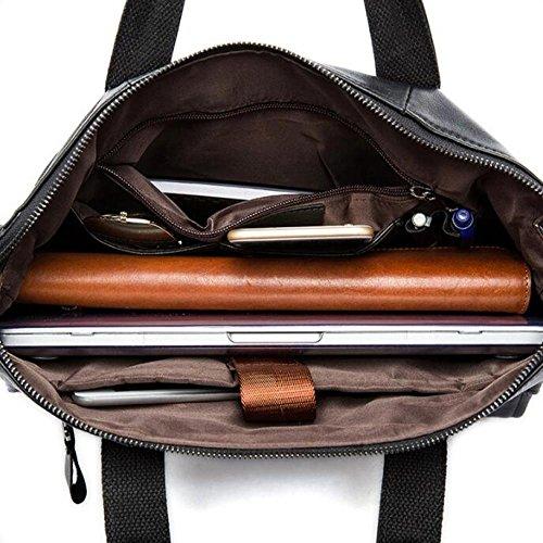 RENHONG Männer Retro-Mode Aus Echtem Leder Aktentasche Schultertasche Messenger Bag Business Casual Büro College-Laptop Notebook-Tasche Schwarz Braun Brown2 rZ8xlM