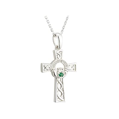 Amazon Irish Claddagh Necklace Celtic Cross Sterling Silver
