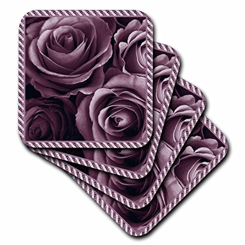 3dRose Close Up Scene of Dreamy Muted Plum Purple Roses Surrounded by A Striped Frame - Soft Coasters, Set of 4 (CST_29932_1)