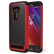 Zenfone 2 Laser Case, MoKo [Shock Absorption] Slim Dual Layer Protective Case with Soft Silicone Bumper and Rigid PC Back Cover for ASUS Zenfone 2 Laser (ZE550KL / ZE551KL) 5.5 Inch - Red