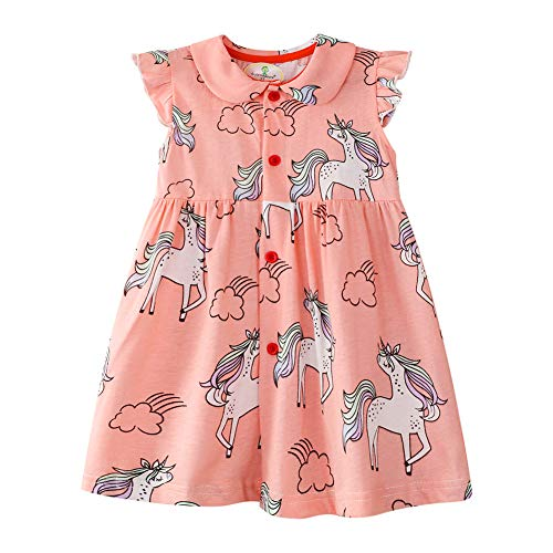 Little Flower Girl Dress Cotton Short Sleeve Unicorn Button A Line Wedding Party Birthday Dresses